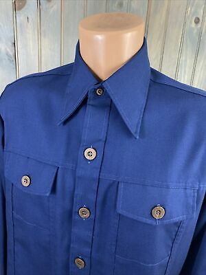 1970s Men's Shirt Styles – Vintage 70s Shirts for Guys Vintage 1970s BRIGADE by Arrow Button Up Long Sleeve OUTERSHIRT SZ MEDIUM $23.99 AT vintagedancer.com