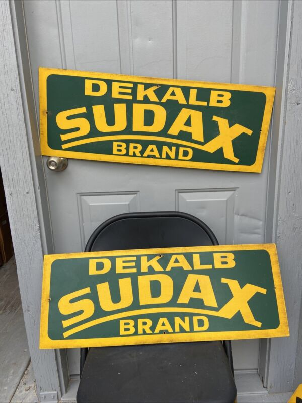 "Lot 2 Genuine Dekalb Sudax Brand Vintage Masonite Signs Field Markers 11"" x 30"""