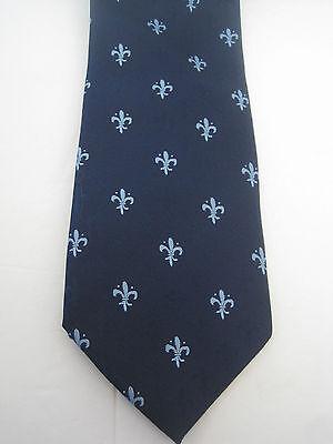Light Blue Fleur De Lis -  Italian Silk Tie Navy & Light Blue Fleur de Lis Design Made in Italy