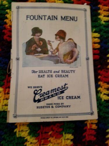 1929 Celluloid Fountain Menu Creamest Brand Ice Cream Chicago