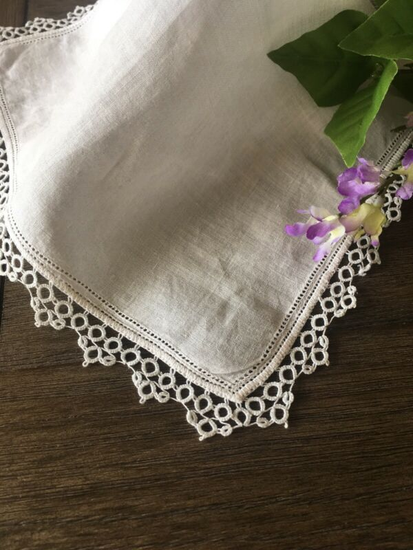 Vintage Linen And Tatted Lace Ladies Wedding Handkerchief