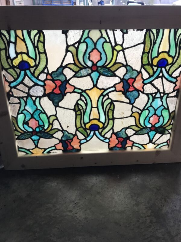 Sg 3580 Antique Floral Stained Glass Window 24.5 X 31.5