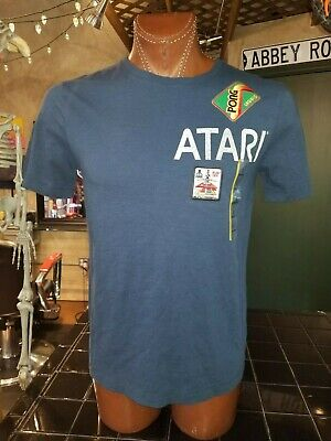 Pong Legend Atari Blast Off dusty blue small t-shirt, classic video game