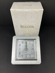 Bulova Brushed Silver Aluminum Wedge Contemporary Wedge Desk Clock NEW