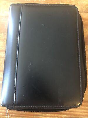 Black Leather 365 Franklin Covey 7 Ring Binder Planner. Zippered. Pockets