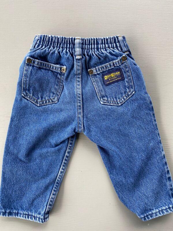Vintage OshKosh Denim Jeans Elastic Waist Made in USA 12 Months