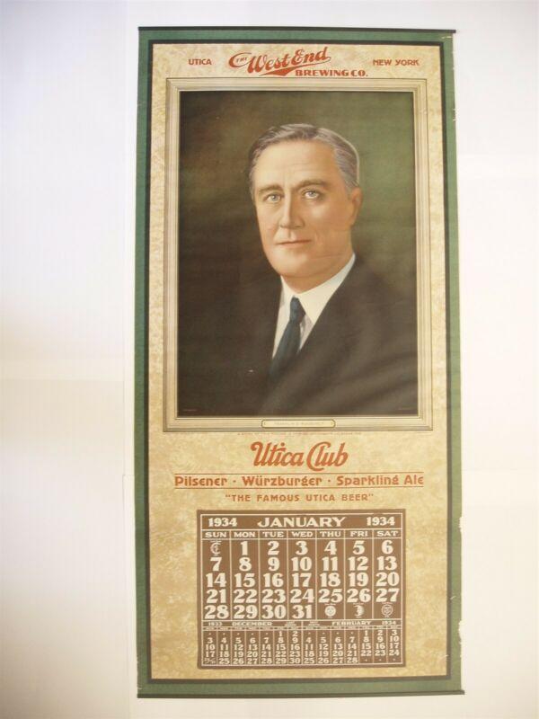 Rare 1934 Utica Club West End Brewing Co Franklin D Roosevelt Calendar New York