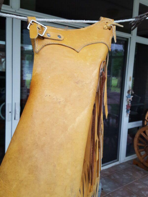 Thick Leather Chinks Youth Ranch Cowboy  Handmade Western Rodeo custom-Trev/Trav
