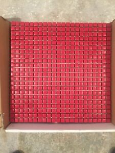 Céramique mosaïque rouge (6 feuilles)