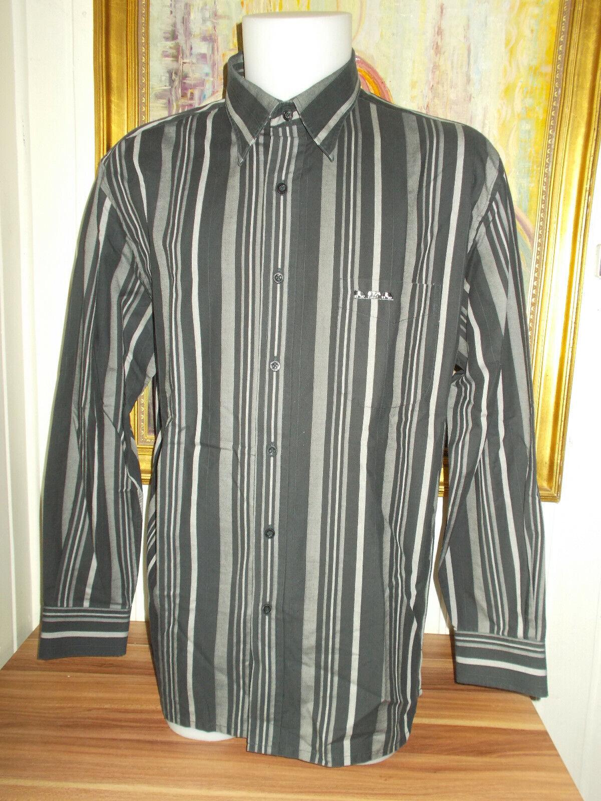 Chemise manches longues coton noir rayé  gris mise au green xl 44
