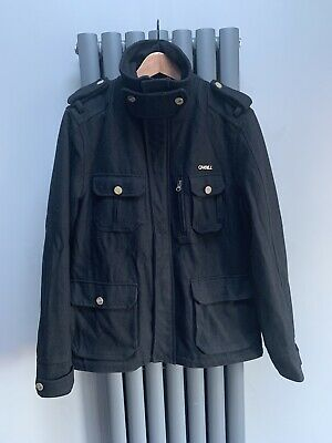 O'Neill Wool Blend Black Military Style Overcoat Jacket Coat Men's Medium for sale  Shipping to Nigeria