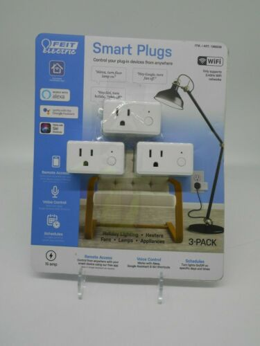 Feit Electric Wifi Smart Plug 3 Pack Works With Alexa, Siri & Google