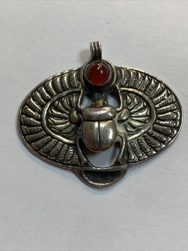 Vintage HAN ZUP sterling Silver Rare Egyptian Scarab Pendant