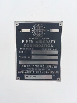 Piper Plate, Lock Haven, Acid Etched, PA18, PA20, PA22, Exact Replica Part