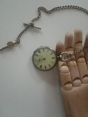Gents london maker silver pocket watch and chain