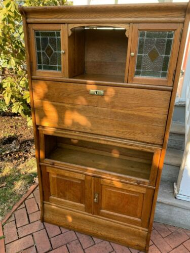 Antique Art Nouveau French Oak Barrister Bookcase w/Stained Glass & Desk, 1915