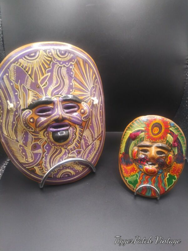 Vintage Lot of  2 Talavera Mexico Folk Pottery Hand Painted Masks