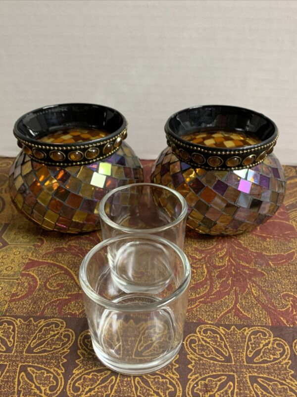 (2) PartyLite Global Fusion Votive Holder Mosaic Tile Glass Tealight Retired