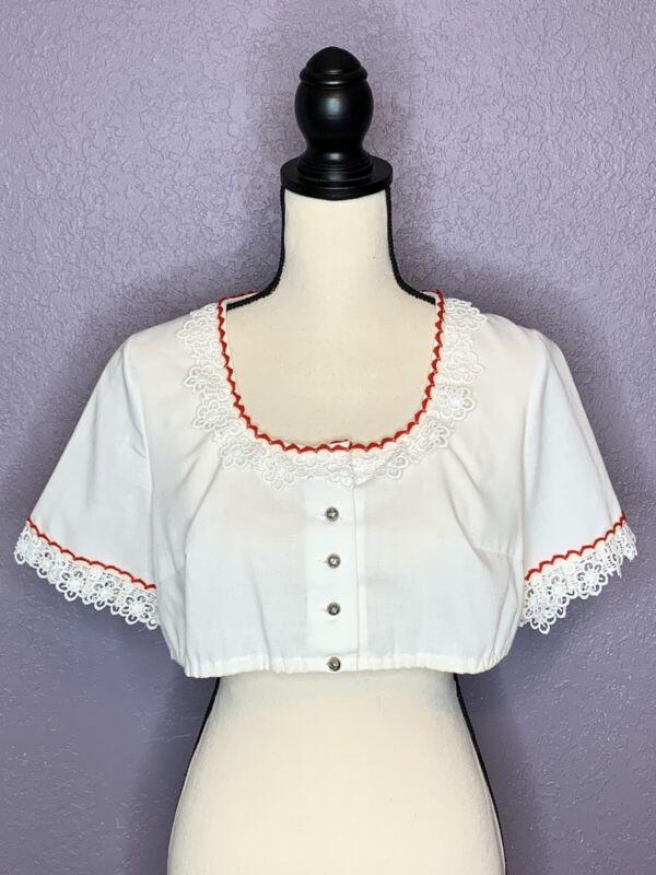 Vintage Cropped White Dirndl Top Short Sleeve Floral Trim