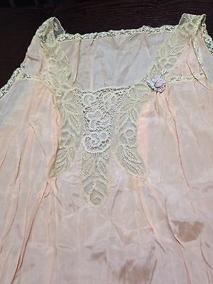 Vintage Edwardian Hand Spun Silk And Lace Nightgown.