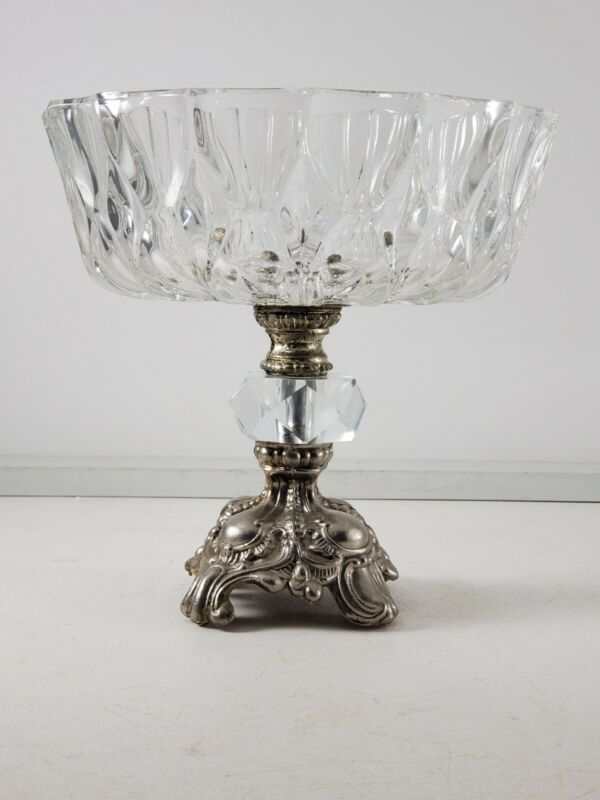 Vintage Silver Plate Ornate Base Crystal Compote Candy Dish Nice