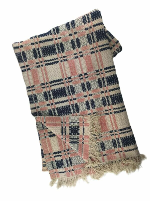 """Antique 19th Century Handwoven Overshot Coverlet Tri-Color Blue Pink Tan 72 x84"""""""