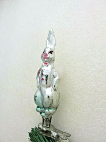 Rabbit Vintage Soviet Russian Christmas Ornament Glass Xmas Tree Clamp