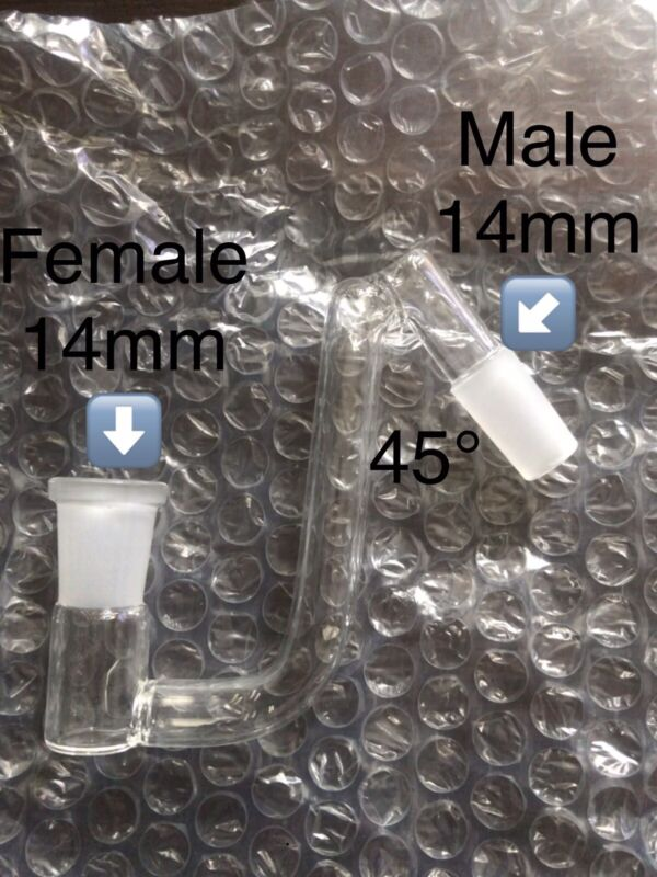 45 degree Glass Dropdown Adapter Male 14mm to Female 14mm Drop Down US Seller