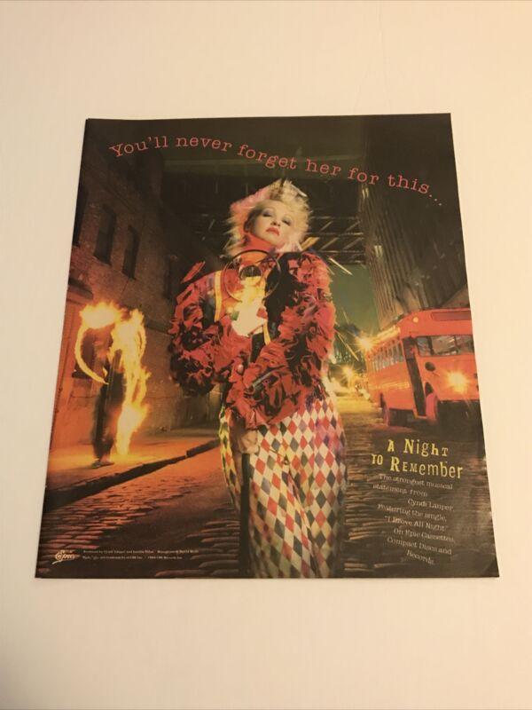 Cyndi Lauper A Night To Remember Promo Advet/mini Poster 10x12