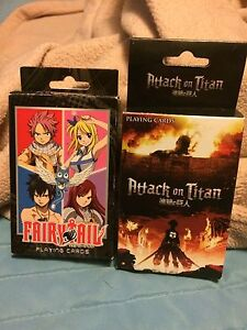 Anime Fairy Tale & Attack on Titan playing cards