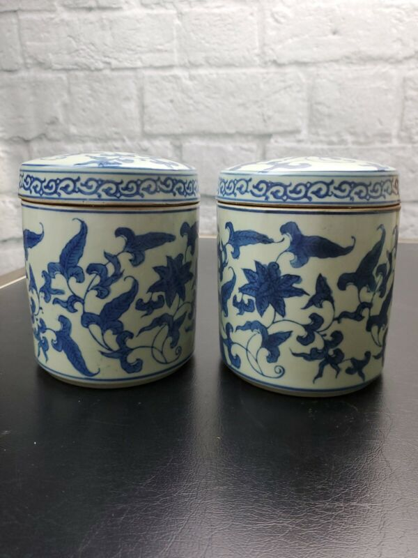 Pair Chinese Porcelain CELADON and BLUE - Tea Caddie - URN - CANISTER -  JAR