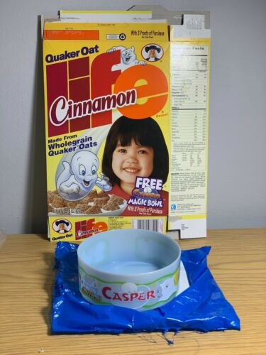 Quakers Life Cereal with Casper the Ghost  Mail away Casper Magic Bowl 1996