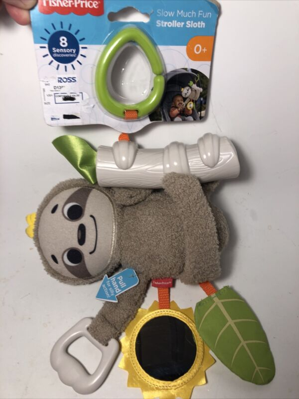 New Fisher Price Slow Much Fun Sloth Baby Crib Stroller Toy Pull Vibrates
