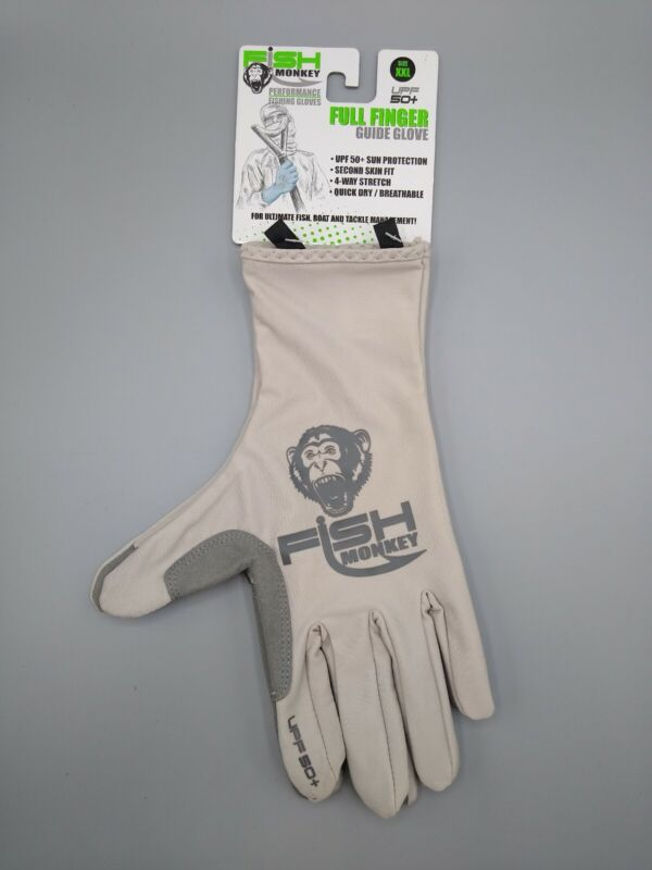 Fish Monkey Easy Work Fishing Glove White Grey 2XL Quick Dry Breathable