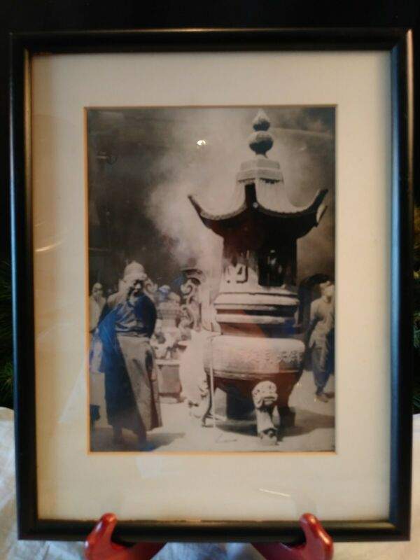 VINTAGE ASIAN MONK  PHOTO CHINESE SCHOLAR TEMPLE INCENSE~FRAMED~FREE SHIPPING