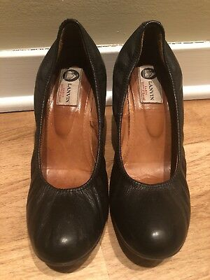 - LANVIN Womens Black Leather Round-Toe Ballet Wedge High-Heel Pump Shoes 9/39