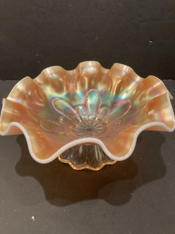 "DUGAN PETAL PEACH OPALESCENT RUFFLED FOOTED BOWL 8 7/8"" BOWL"