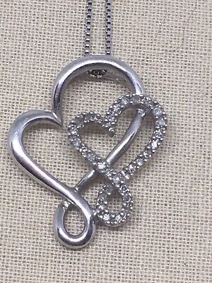 "18"" JWBR Sterling Silver Double Heart Diamond Accent Pendant Necklace"
