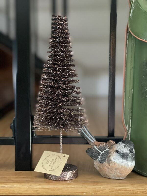 "Ino Schaller Bayern Germany Fall Brown Glitter Bottle Brush Tree 11.5"" NWT"