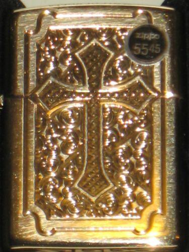 New Zippo USA Windproof Lighter 29436 Deep Carved High Polish Brass Armor Cross