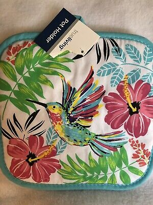 Hummingbird Pot Holder Cotton Colorful Quilted Kitchen Summe ()
