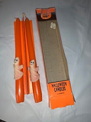 Pair of Vintage Orange/White Ghosts 10 inch Halloween Candlesticks Candles
