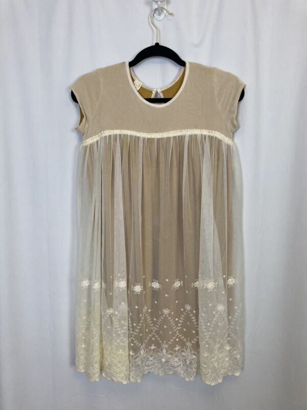Vignette Girl's Size 14 Lace/Mesh Overlay Cream & Mustard Dress Ankle Length S/S