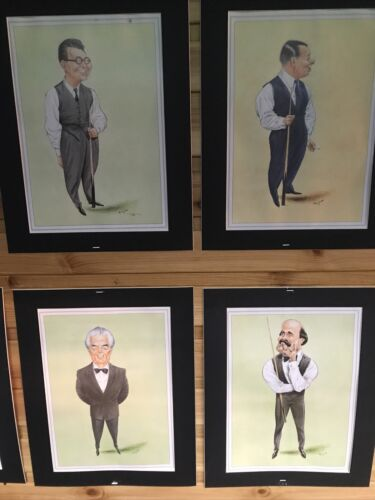 Joe Davis 10 Framed Snooker Themed Characatures By John Ireland Including