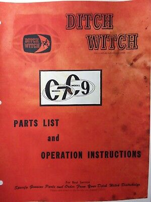 Ditch Witch C7 C9 Walk-behind Trencher Owner Service Parts Manual Utility