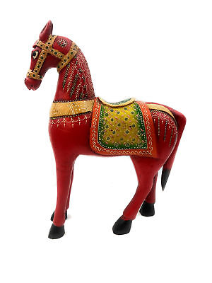 "Painted Ornate Wooden 15"" Horse Figurine Statue Decoration Decorative Home Decor"