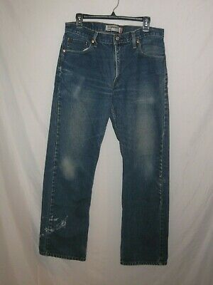 LEVIS 505 - Naturally Distressed Straight Blue Jeans - Mens 34 x 32
