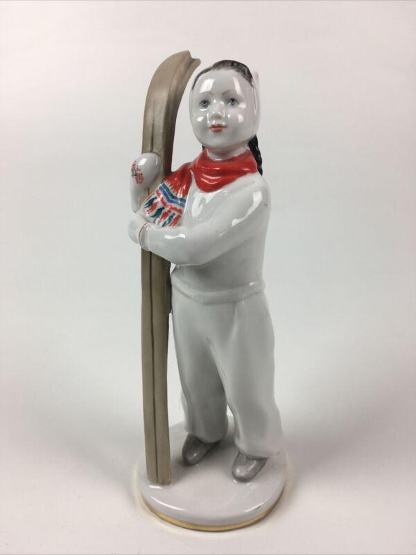 Russian Imperial Lomonosov LFZ Porcelain Sculpture - Skier Girl