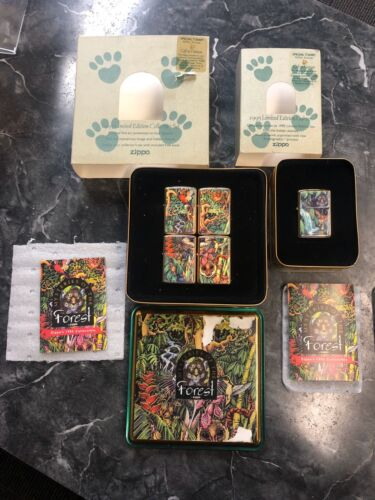 Zippo Set Of 5 Mysteries Of The Forest Lighter 1995 Limited