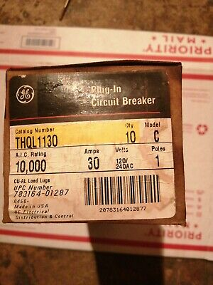 Box Of 10 Ge Thql1130 Circuit Breakers 30 Amp 1 Pole 120240 Volt Free Shipping